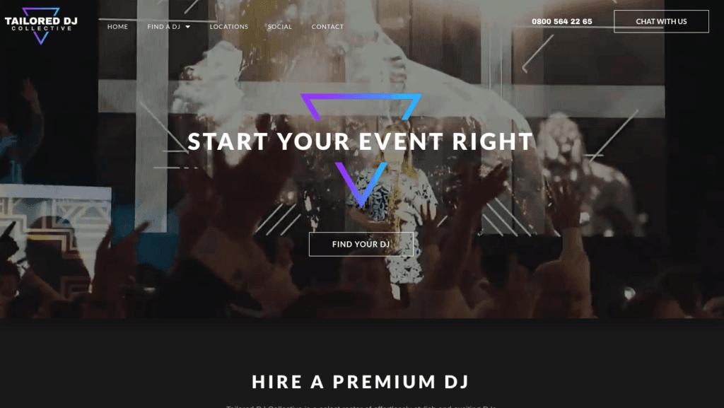 Tailored DJs Dark Website - Digital Marketing Agency