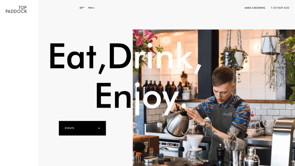 Top Paddock Cafe Monochrome Website Design - Digital Marketing Agency